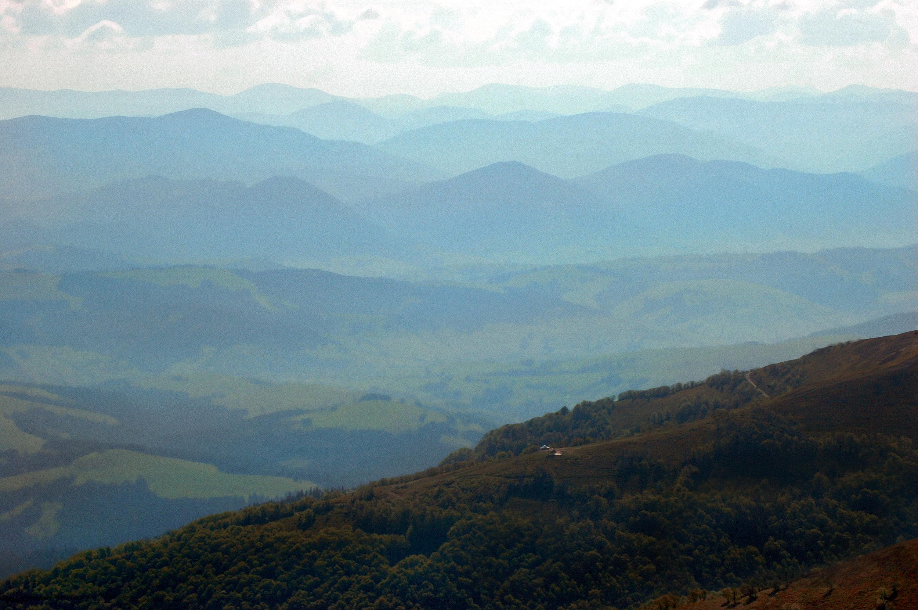 Widok na Gorgany z podejścia na Połoninę Borżawę